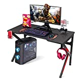 "Gaming Desk, SIMBR 48"" K-Frame Design Computer Desk, Large Workstation Gaming Table for Gaming Laptop, Office PC Gamer Desk with Controller Stand Cup Holder Headphone Hook, Easy to Assemble"