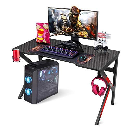 SIMBR Mesa para Ordenador de 120cm, Mesa Gaming con Diseño de Forma en K, Mesa de Juegos para Ordenador Portátil, Escritorio de Oficina con Soporte de Controlador, Posavasos y Gancho para Auriculares