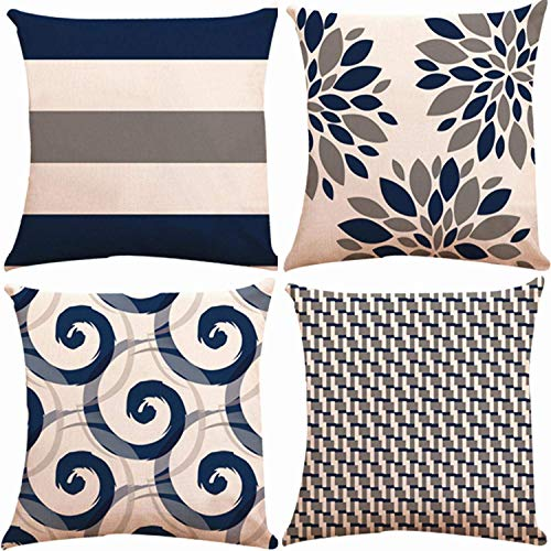 Munzong Dekorative Dekokissen Abdeckungen 18x18 Zoll 2 Side Design, Set von 4 Floral Baumwolle Leinen Indoor Kissenbezug Kissenbezug für Car Sofa Home Decor (Navy Beige Green Check, Mix & Match)
