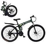 Hua 26 Inch Folding Mountain Bike with 21 Speed | Adults Bicycle Mountain Bike for Women Men | Dual Disc Brakes Full Suspension Non-Slip [US in Stock] (7)