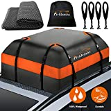 FIVKLEMNZ Car Roo Bag Cargo Carrier, 15 Cubic Feet Waterproof Rooftop Cargo Carrier with Anti-Slip Mat + 8 Reinforced Straps + 4 Door Hooks Suitable for All Vehicle with/Without Rack