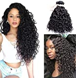 Perstar Water Wave 3 Bundles Water Wave Brazilian Virgin Human Hair Weave Bundles Wet Wavy Human Hair Bundles of Water Wave Can be Dyed and Bleached Human Hair Extensions Double Weft Superior14'16'18'