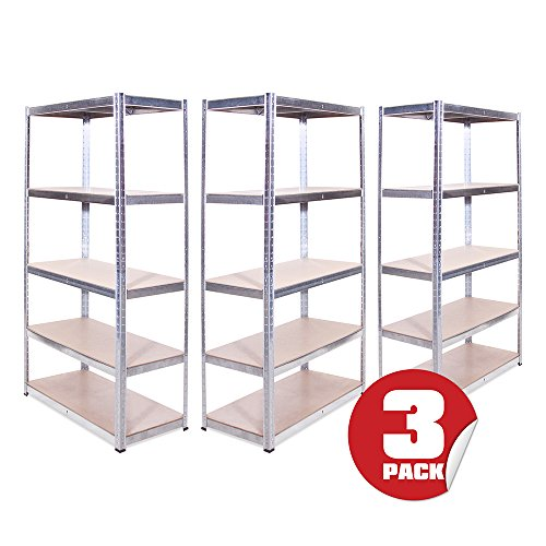 Garage Shelving Units: 180cm x 90cm x 45cm | Heavy Duty Racking Shelves for Storage - 3 Bay, Galvanised Steel 5 Tier (175KG Per Shelf), 875KG Capacity | For Workshop, Shed, Office | 5 Year Warranty