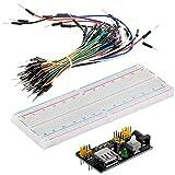 AZDelivery MB 102 Breadboard Kit - 830 Breadboard, Fuente de alimentación Adaptador 3,3V 5V, 65 x Jumper para Arduino