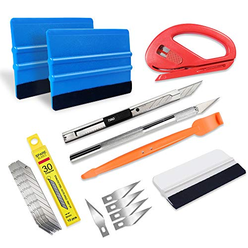tiptopcarbon Car Vinyl Wrap Window Tint Film Tool Kits with Felt Squeegee Wrap Stick for Vinyl Installation 22 pcs/Pack