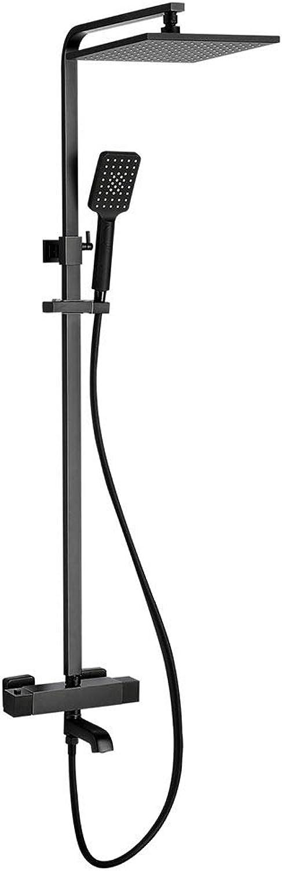 Duschsysteme Duschsystem Multifunktionsdusche Thermostat-Duschset für Badezimmer Wandmontierte Dusche (Farbe   Silber, Größe   80-120cm)
