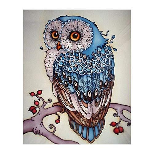 5D DIY Diamond Painting Owl Cross Stitch Beautiful Blue Owl Animal Needlework Home Decor 3D Full Round Diamond Embroidery