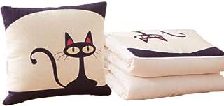 Almohada Hipoalergénica y Edredón 2 en 1 Portátil, Auto-Conducción al Aire Libre Niños Reposo Aire Acondicionado Cobertor de Cama TV Manta de Dormir Bolsa de Dormir Almohada (Cat at Night)