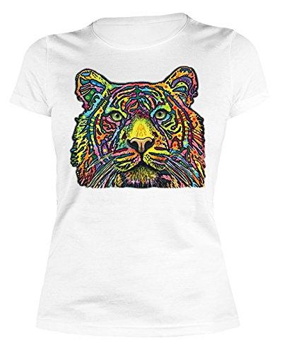 Damen T-Shirt, Girlieshirt mit farbigen Tigerkopf - Tiger