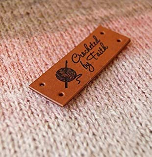 Custom garment labels, leather labels, personalized logo tags, clothing leather labels, knitting tags, labels for crochet products, 25 pc