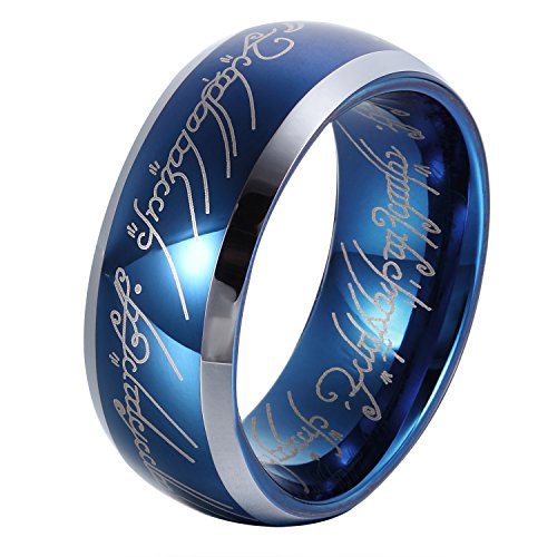 GER - Anillo unisex de carburo de tungsteno de color azul zafiro de 8 mm, diseño anillo de El Señor de los Anillos, talla 12 a 31
