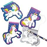 Baker Ross AT965 Block Notes Unicorno Arcobaleno, per borse da festa per bambini e piccoli giocattoli per bambini (confezione da 12), assortiti