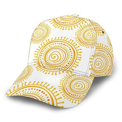 GCDT Gorra de béisbol curvada 3D de sol étnico dibujado a mano con visera curvada ajustable Snapback Cap clásico Sport Casual Dad Hat para hombres y mujeres negro