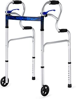 Health Line Massage Products 3 in 1 Stand-Assist Folding Walker with Trigger Release and 5 inch Wheels Supports up to 350 ...