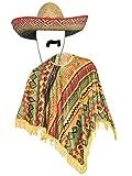 Kostüm Mexikanischer Bandit - für Herren - Poncho, Sombrero & Schnurrbart