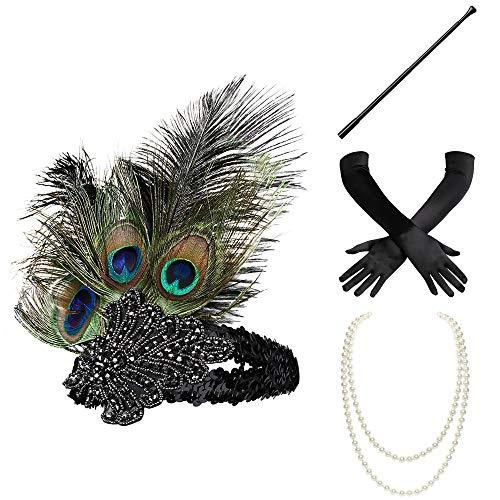 BABEYOND 1920s Flapper Set Damen Gatsby Kostüm Accessoires Set inklusive Stirnband Halskette Handschuhe Zigarettenhalter (Set-29)