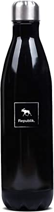 Republik Premium Stainless Steel Water Bottle- Double Wall Vacuum Insulated with Leak Proof Screw Top Lid and Wide Mouth Opening- 750ml Capacity with Ergonomic Bottle Design