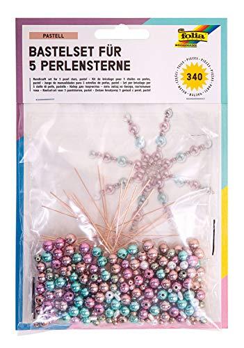 folia 12550 - Bastelset für 5 Perlensterne Pastel, rosé / türkis / grau, 340 teilig - ideal als selbstgemachte Dekoration für Weihnachten