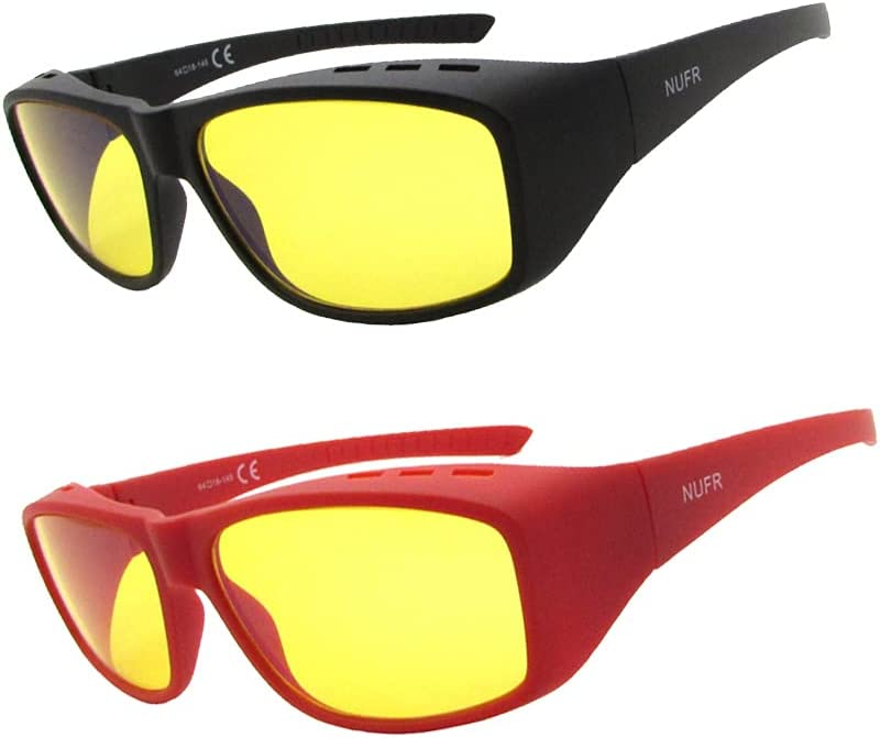 NUFR Fitover Blue Light Blocking Computer Glasses for Women and Men -Fit Over Prescription or Reading Eyeglasses Computer Gaming Glasses (2 Pack-Black&Red with Yellow Lens)