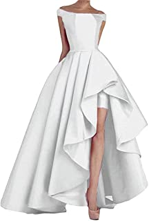 Jonlyc Women's High Low Off The Shoulder Prom Dresses Long Satin Formal Evening Gowns