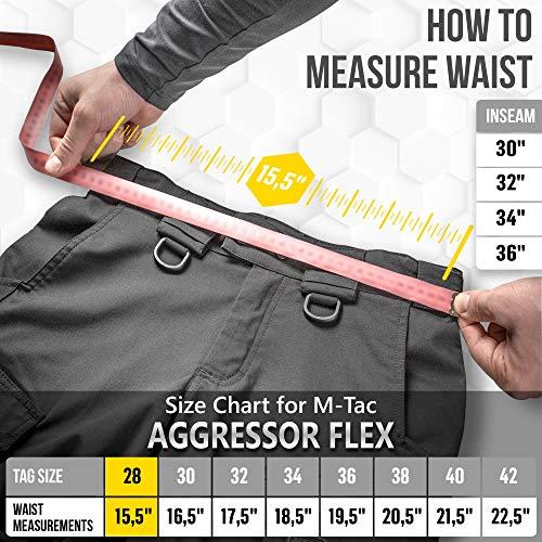 Aggressor Flex – Tactical Pants – Men Black Cotton with Cargo Pockets (Coyote Brown, W36 / L34)
