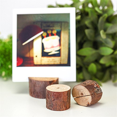 Wedding Wooden Place Card Holders Ocean-City Memo Paper Note Name Photo Clip Rustic Table Number Stands for Home Party Christmas Holiday Decorations (10 Pack)