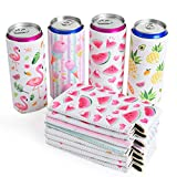 WERNNSAI Neoprene Slim Can Sleeves - Set of 12 Can Sleeves Beer Soda Drink Coolies Caddies Collapsible Reusable Thermocoolers for Weddings Bridal Shower Birthday Bachelorette Parties