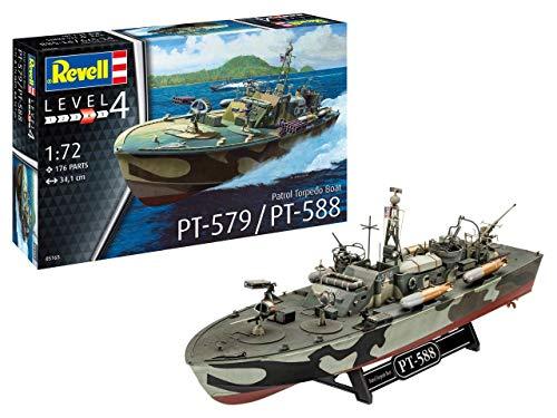 Revell 05165 Patrol Torpedo Boat PT-588/PT-579, Schiffsmodellbausatz 1:72, 34,1 cm originalgetreuer Modellbausatz für Fortgeschrittene, unlackiert, 1/72