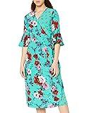 Marca Amazon - find. Vestido Cruzado de Flores Mujer, Verde (Green), 38, Label: S