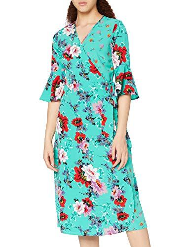 Marchio Amazon - find. Vestito Midi a Portafoglio a Fiori Donna, Verde (Green), 42, Label: S
