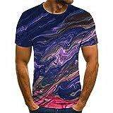 Camiseta Hombre Verano Clásica Moda Cuello Redondo Hombre Shirt Moderna Novedad 3D Tinta Impresión Hombre Manga Corta Urbana Diaria Casual All-Match Hombre Casuales Camisa TD04 4XL