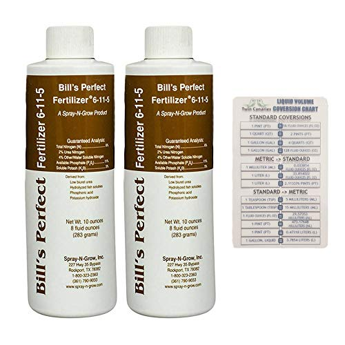 Bills Perfect Fertilizer, 10 oz Bottle (2 Pack) + Twin Canaries Chart