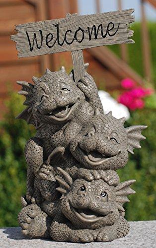 MystiCalls by Mayer Chess Gartendrachenfamilie Willkommen! Garten! Figur! Drache! Liebe! Family!