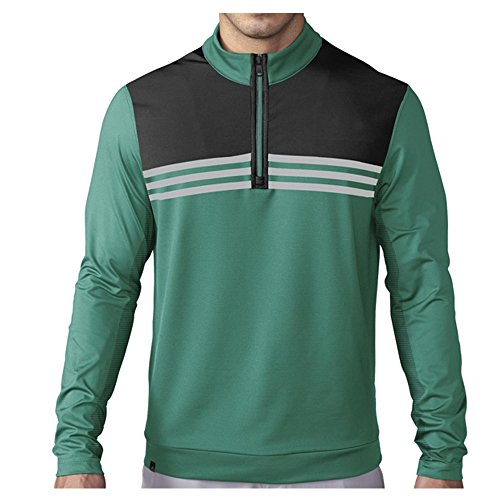 adidas Golf Mens Climacool Colorblock 14 Zip Layering Top EQT Green S Small
