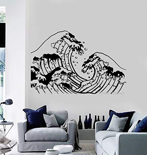 Tianpengyuanshuai Ocean Wave Vinilo Apliques de Pared Adhesivo de Pared Impermeable y a Prueba de Humedad baño Dormitorio Artista decoración del hogar Pegatina póster 75.6 x 50.4cm