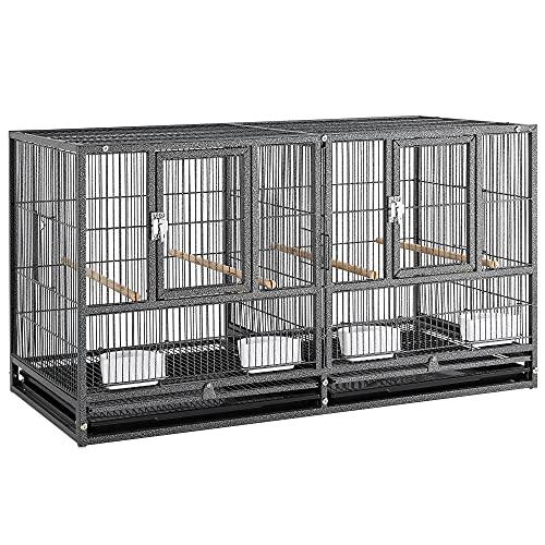 Yaheetech Cage d'elevage pour Oiseaux avec Deux Espaces Divisés Cage pour Petit Oiseaux Exotiques Canaris Madarin Perruche avec Mangeoires Perchoirs 2 Portes 95,5 x 45,5 x 52,5 cm