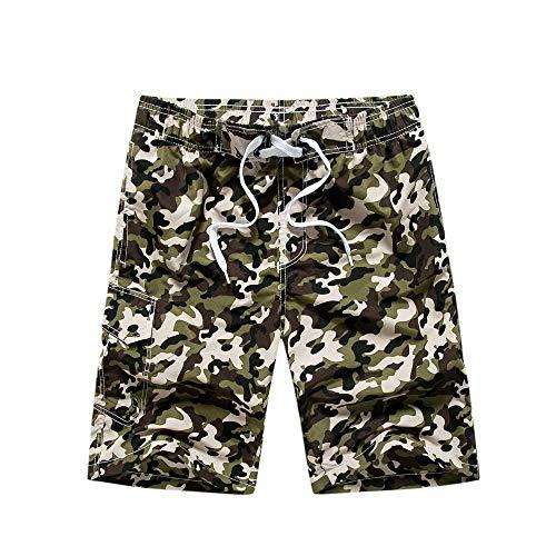 YLBH Pantalones De Playa De Camuflaje para Hombres Pantalones Sueltos De Cinco Puntos De Gran TamañO Pantalones Cortos para Hombres Pantalones De Playa De Secado RáPido Marea Denim Verde L