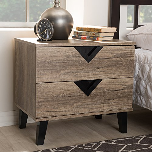 Baxton Studio Swanson 2-Drawer Nightstand Contemporary/Light Brown/Particle Board with PU Paper/Plastic (Handles and Legs)/