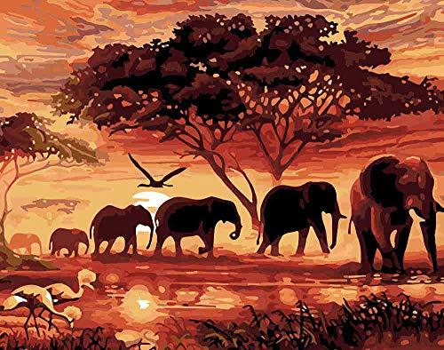 mmhhxx Puzzle de Paisaje de Elefante para Adultos Puzzle de 1000 Piezas Puzzle de Paisaje de Elefante para Adultos 75x50cm -999