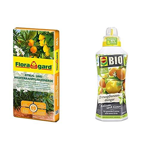 Floragard Zitrus-und Mediterranpflanzenerde 40 Liter Blumenerde, Erdfarben & Compo Bio Zitruspflanzendünger für alle Zitruspflanzen-Arten, Natürlicher Spezial-Flüssigdünger, 500 ml