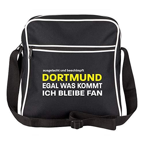Schultertasche ausgelacht und beschimpft - Dortmund - Egal was kommt, ich bleibe Fan schwarz - Dortmund Dortmunder Fußball Tasche Fanartikel