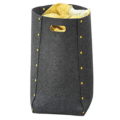 mDesign Cubo para colada de polipropileno transpirable – Cesto para ropa sucia de diseño para el lavadero, cuarto de baño o dormitorio – Bolsa para guardar ropa plegable y con asa – gris oscuro