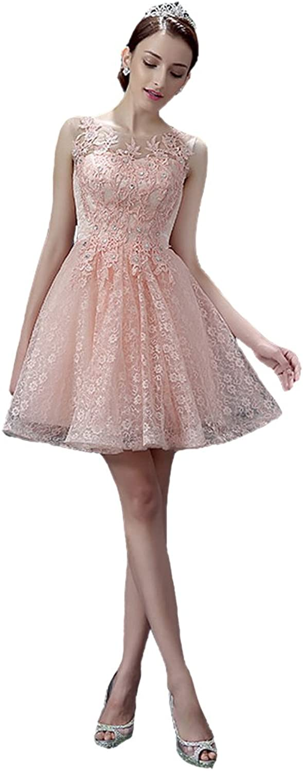 AK Beauty Lace Appliques Mini Prom Gown Lace up Sequines Cocktail dress