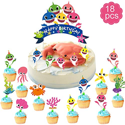 Baby Little Shark Cake Topper Happy Birthday Cupcake Picks, A Series of Birthday Cake Supplies Decorations(18 Pcs)