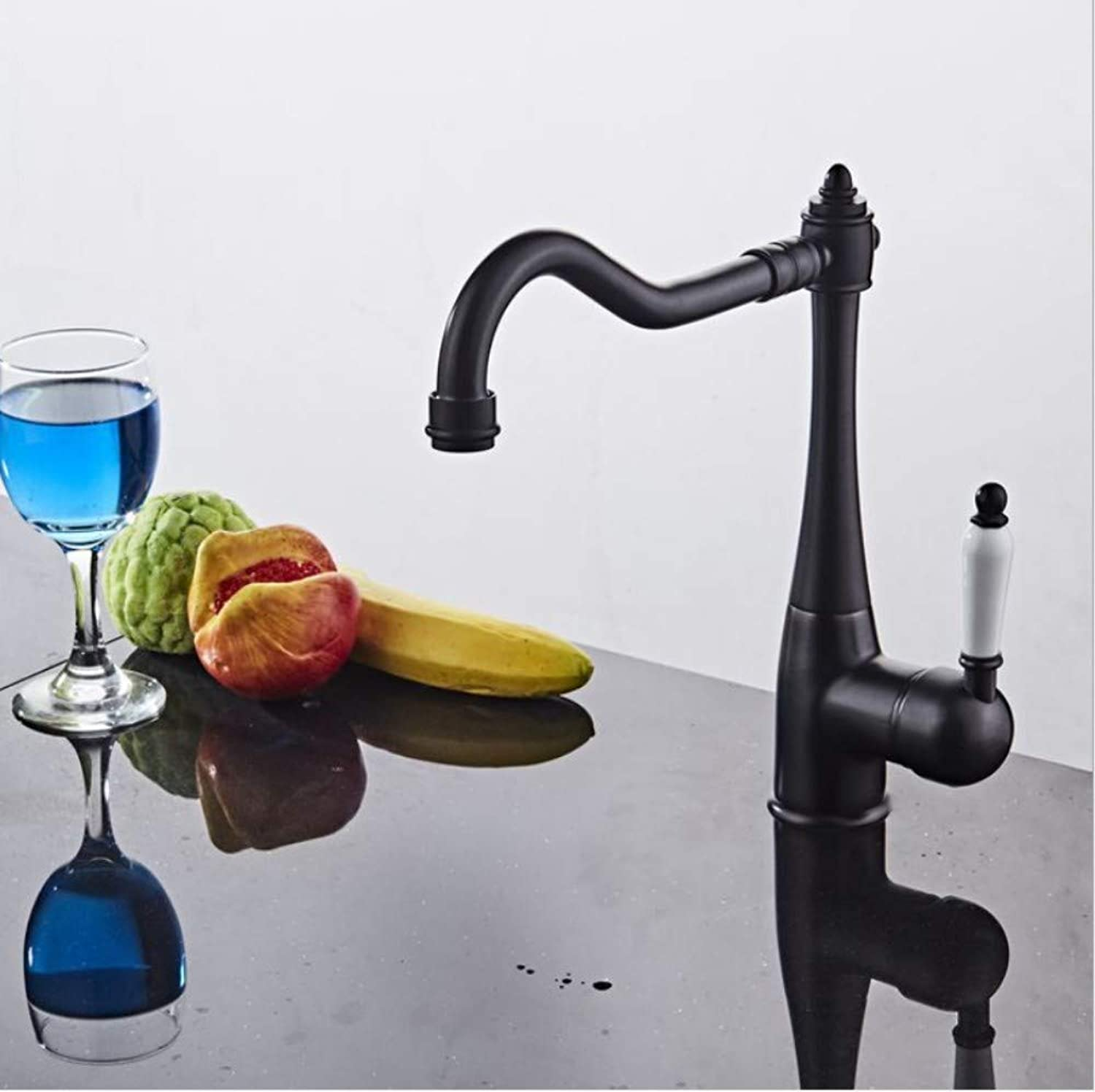 Bathroom Sink Basin Lever Mixer Tap Copper Brushed European Antique Kitchen Retro Black Orb Faucet Dish Hot and Cold Faucet