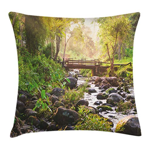 Ambesonne Landscape Throw Pillow Cushion Cover, Small Waterfall in Deep Forest Thailand Sunlight Morning Nature Scenery, Decorative Square Accent Pillow Case, 16