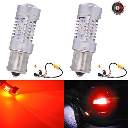 KATUR 7056 BAU15S BA15S 1141 P21W Ampoules à LED Rouges 2835 42SMD Voyant de Clignotant à lentille 12V avec décodeur Canbus Exempt de Faisceau de résistances de Charge 50W 8ohm (Lot de 2)