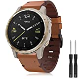 Junboer Compatible with Fenix 6S Band, 20mm Watch Band Easy Fit Premium Leather Replacement Starp with Stainless Steel Buckle for Garmin Fenix 6S/6S Pro/6S Sapphire/5S/5S Plus/D2 Delta S Smartwatch