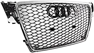 ZMAUTOPARTS For 2009-2012 Audi A4 / S4 B8 8T RS5 Style Honeycomb Mesh Hex Grille Gloss Black with Chrome Trim