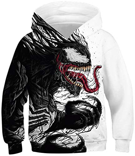 OLIPHEE Jungen 3D Cartoon gedruckt Sweatshirt Long Sleeve Sweater mit Kapuze, Venom-d, S(Höhe 115-125cm)